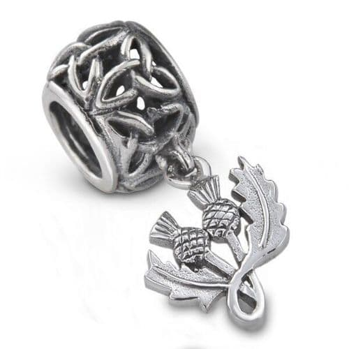 Outlander Inspired Thistle Silver Bead Charm